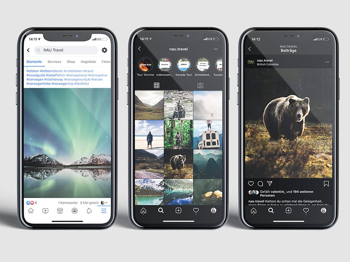 3 phones mockup showing NAU Travel social media posts in Instagram and Facebook