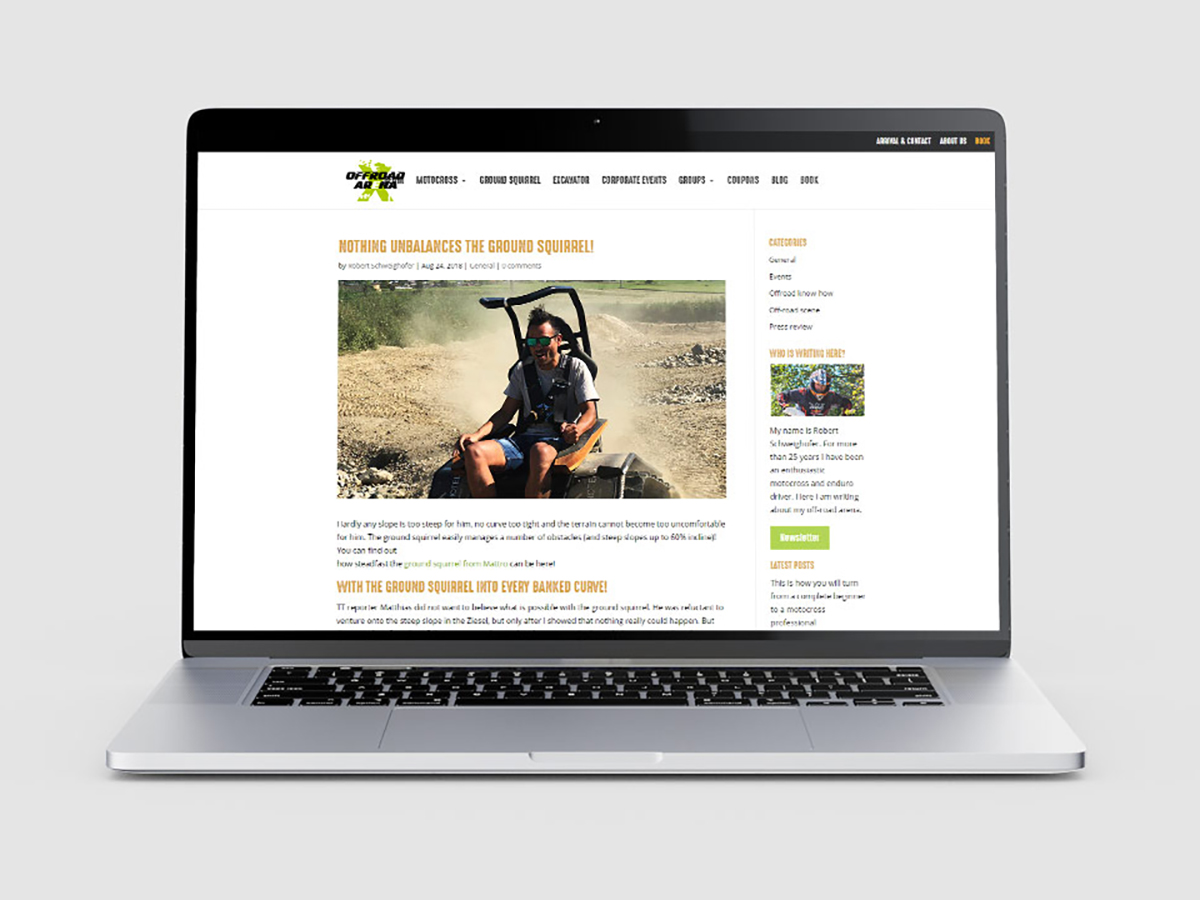 Mockup of a laptop with Offroad Arena's website