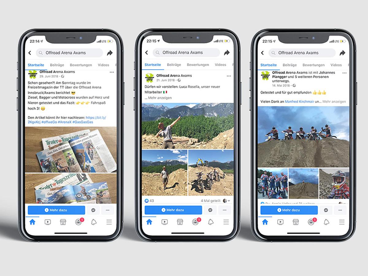 3 phones showing Facebook posts of Offroad Arena