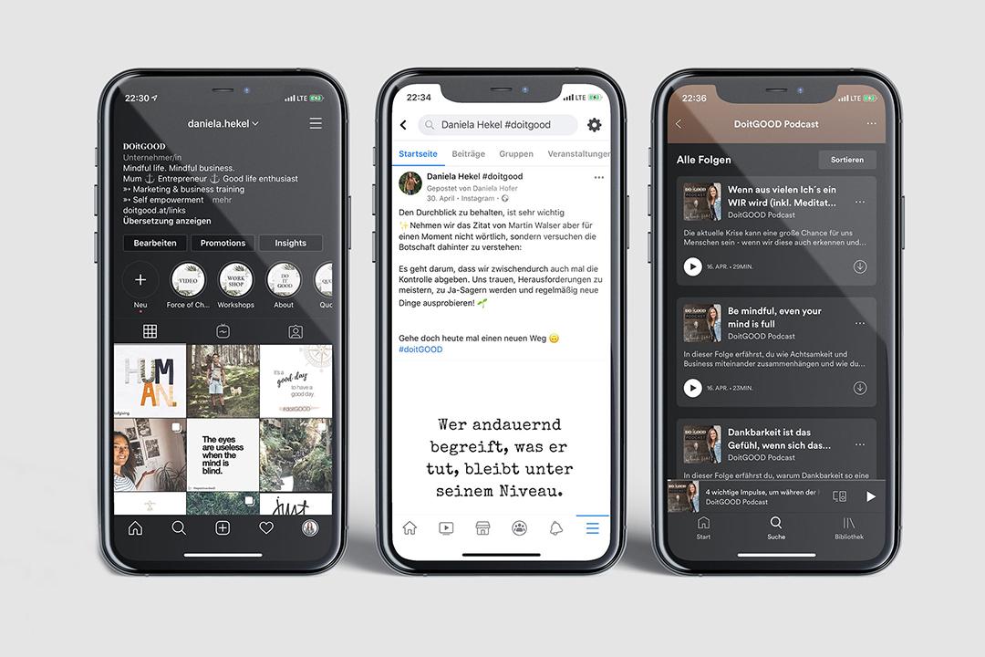 3 phones showing doitGOOD Facebook posts