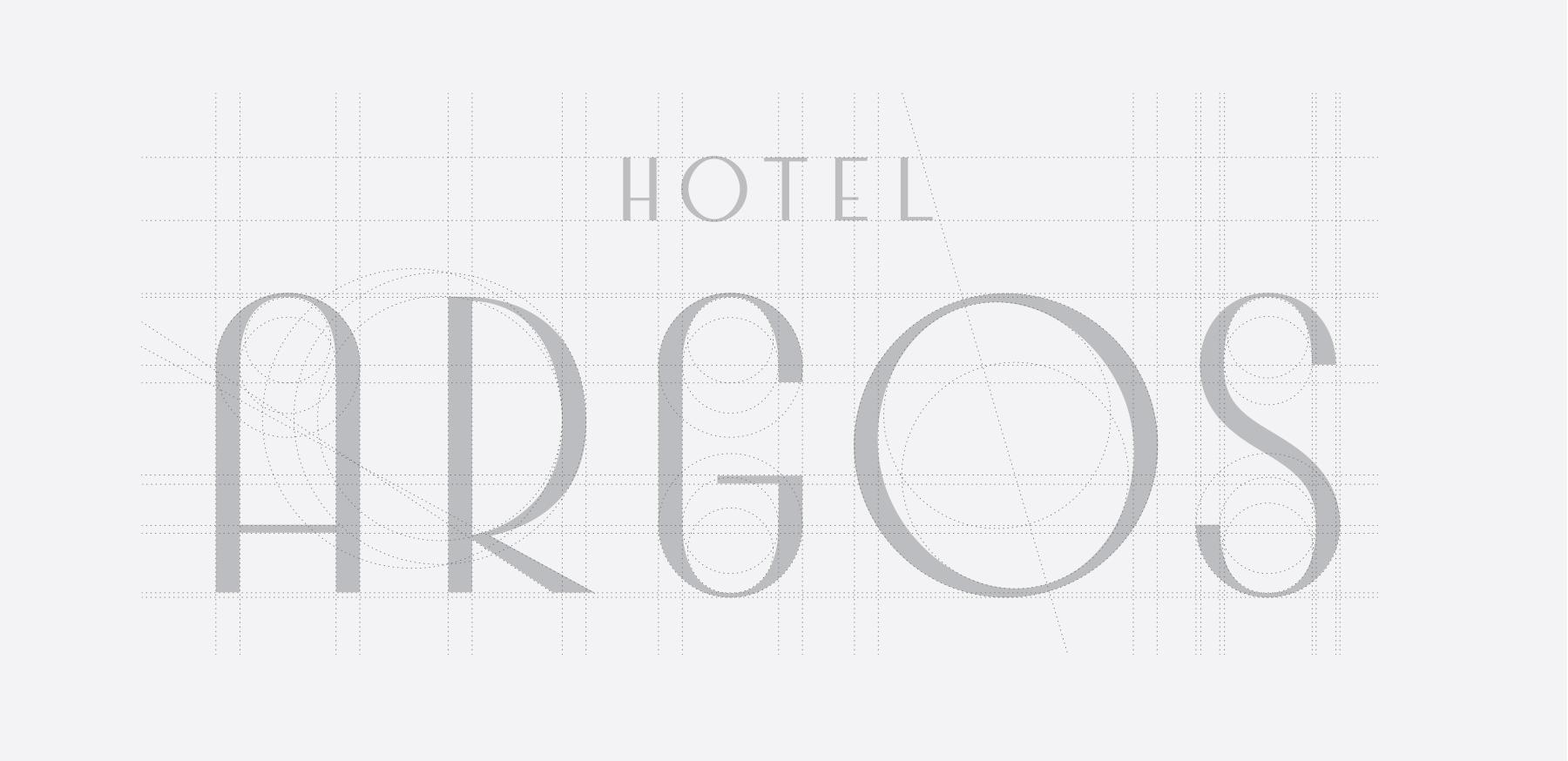 The construction of the Hotel Argos logo