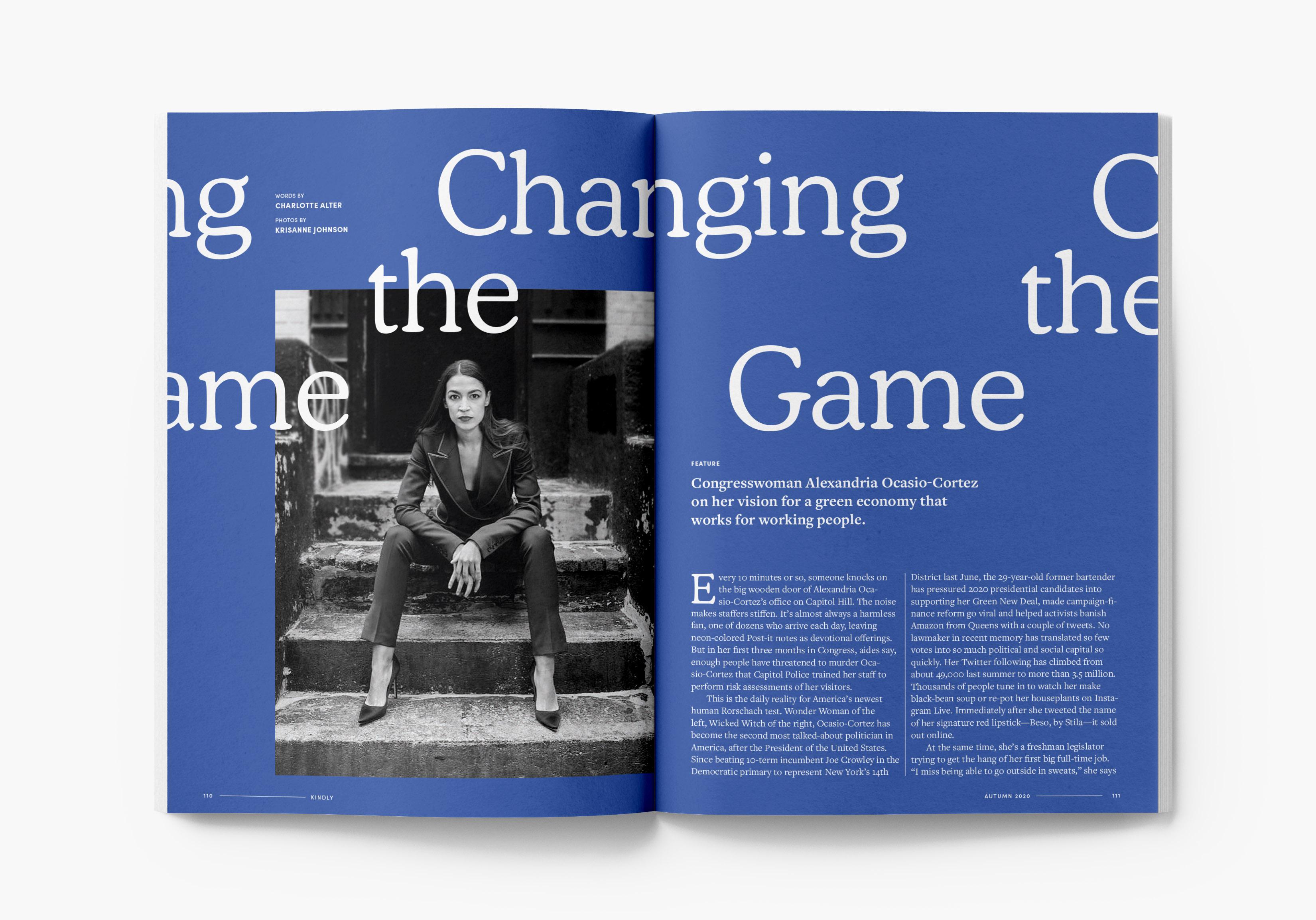 Magazine featured article on Alexandria Ocasio-Cortez