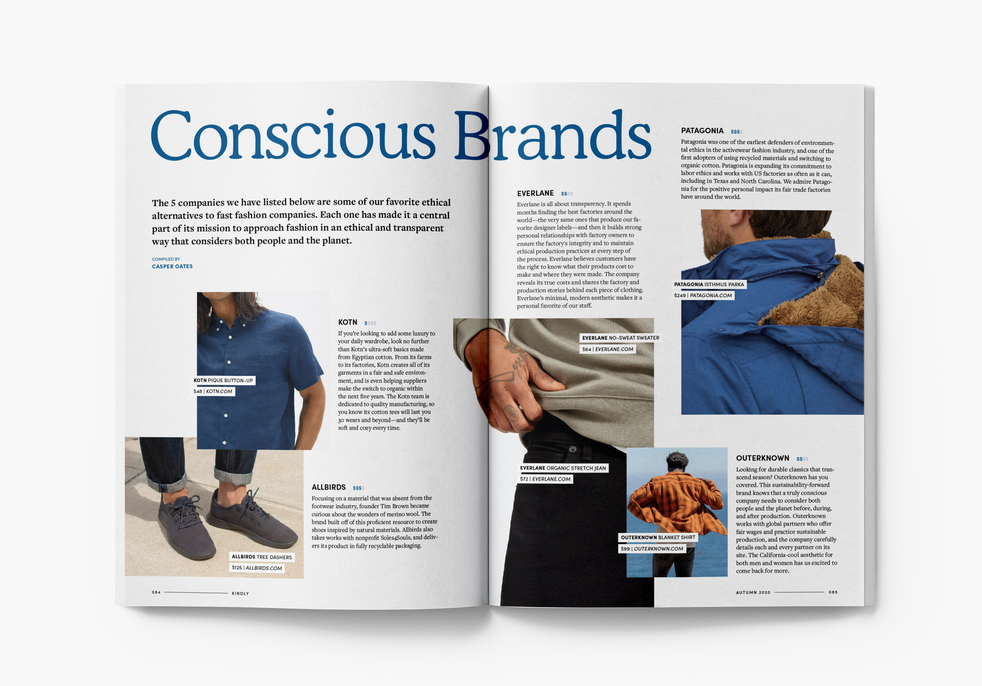 Magazine spread showcasing conscious clothing brands