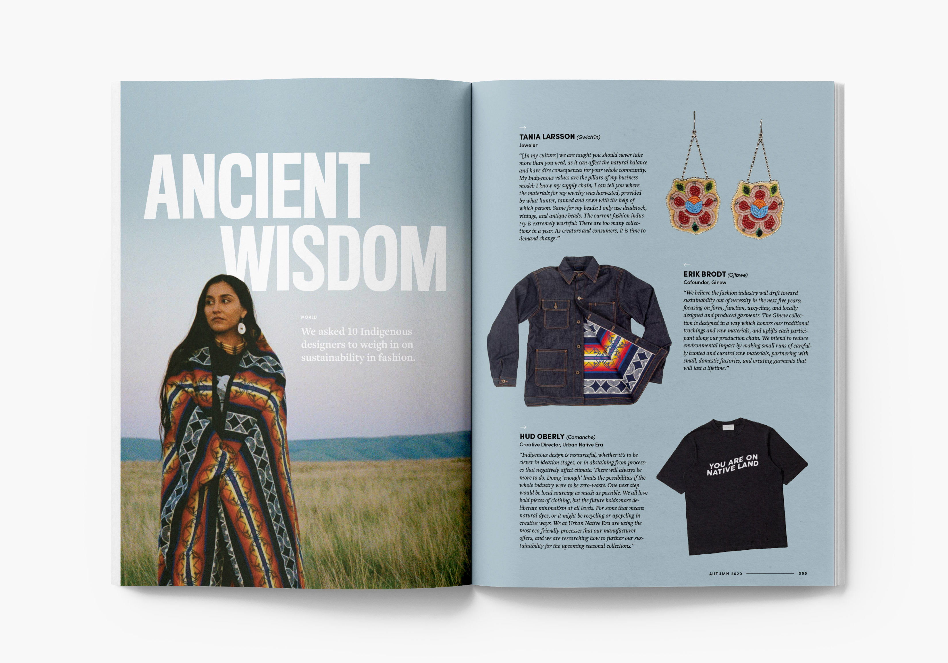 Magazine spread showing interviews with Indigenous designers