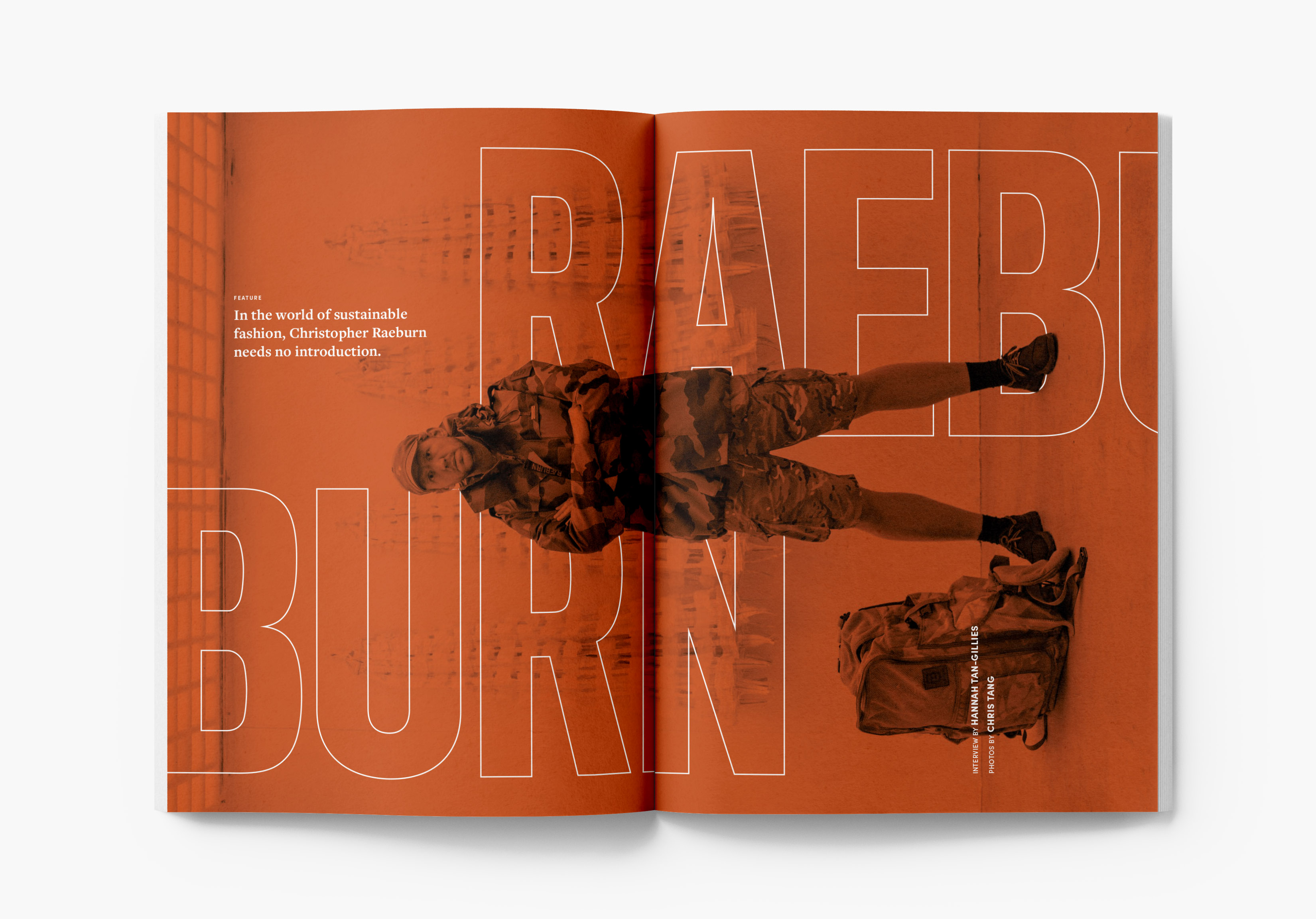 Magazine featured article on fashion designer, Christopher Raeburn.