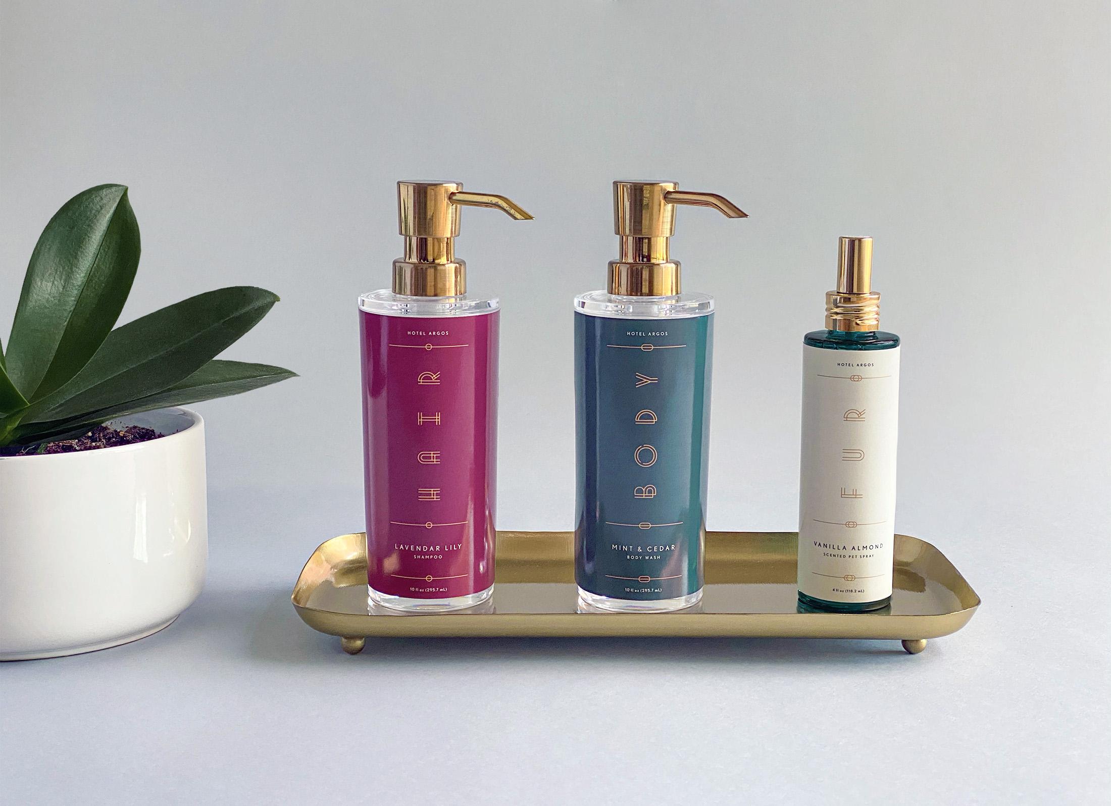 Elegant soap bottles for Hotel Argos.