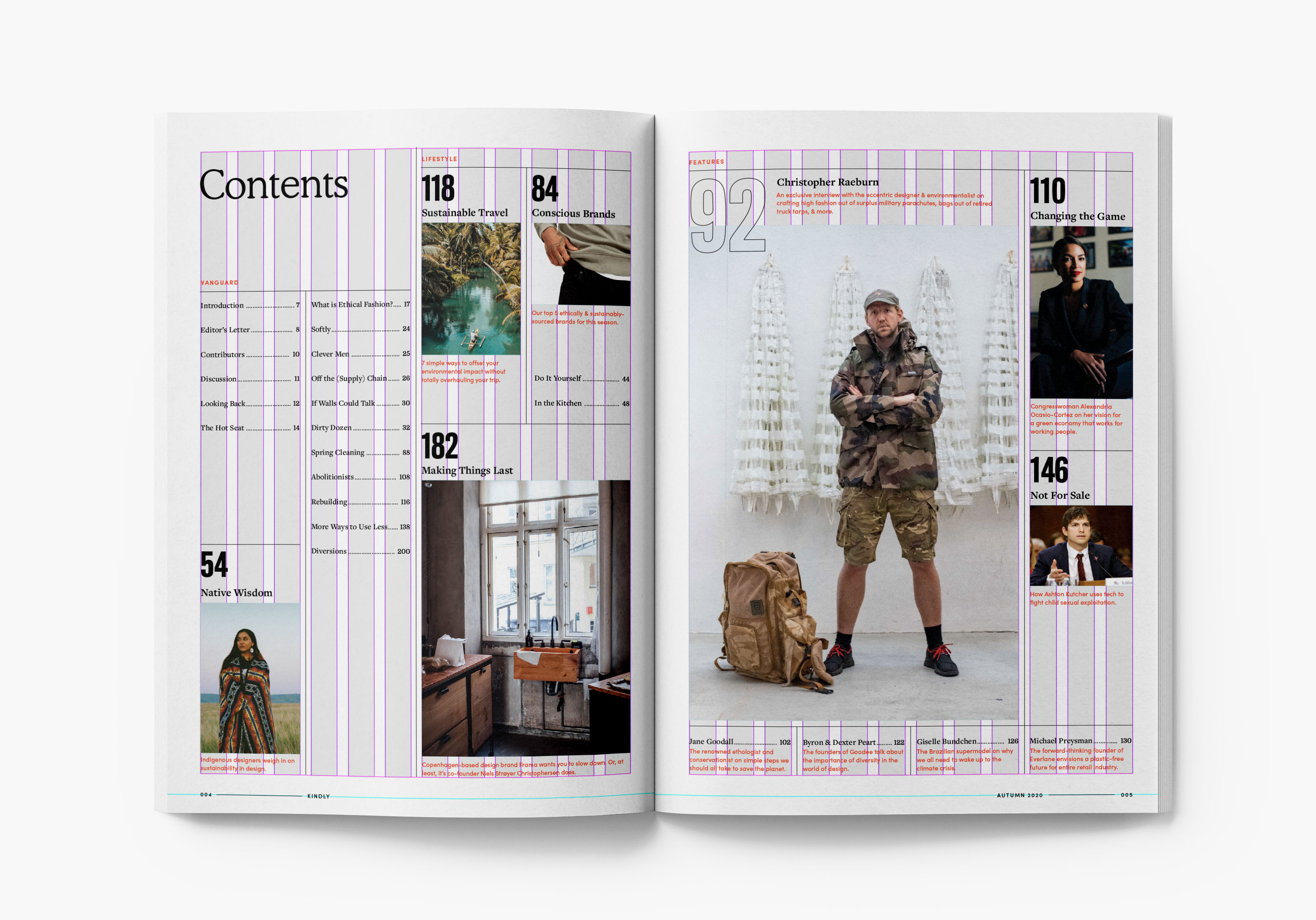 Table of contents magazine spread