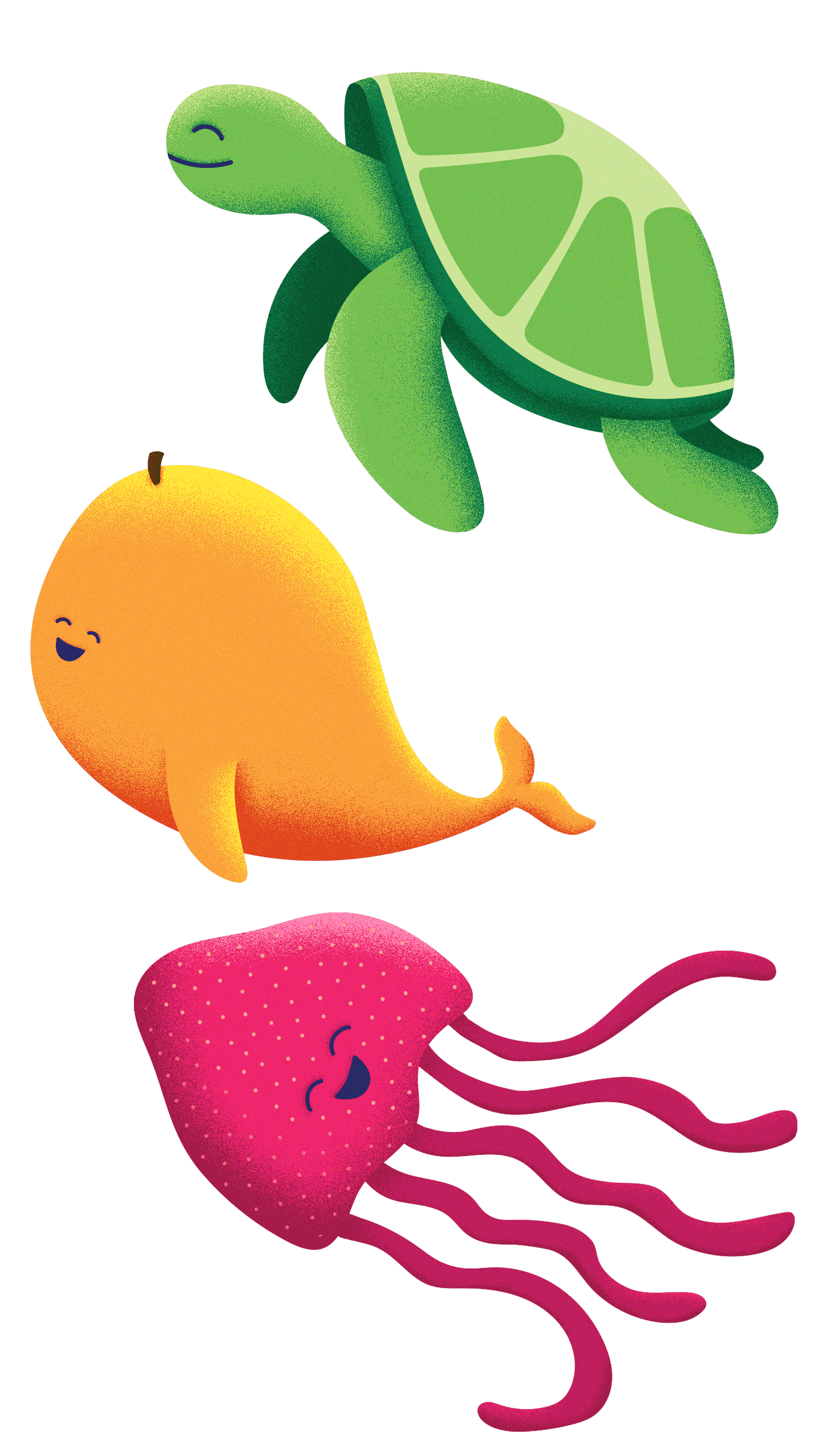 Three cute illustrations of sea creatures combined with fruits. A lime sea turtle, a mango whale, and a strawberry jellyfish.