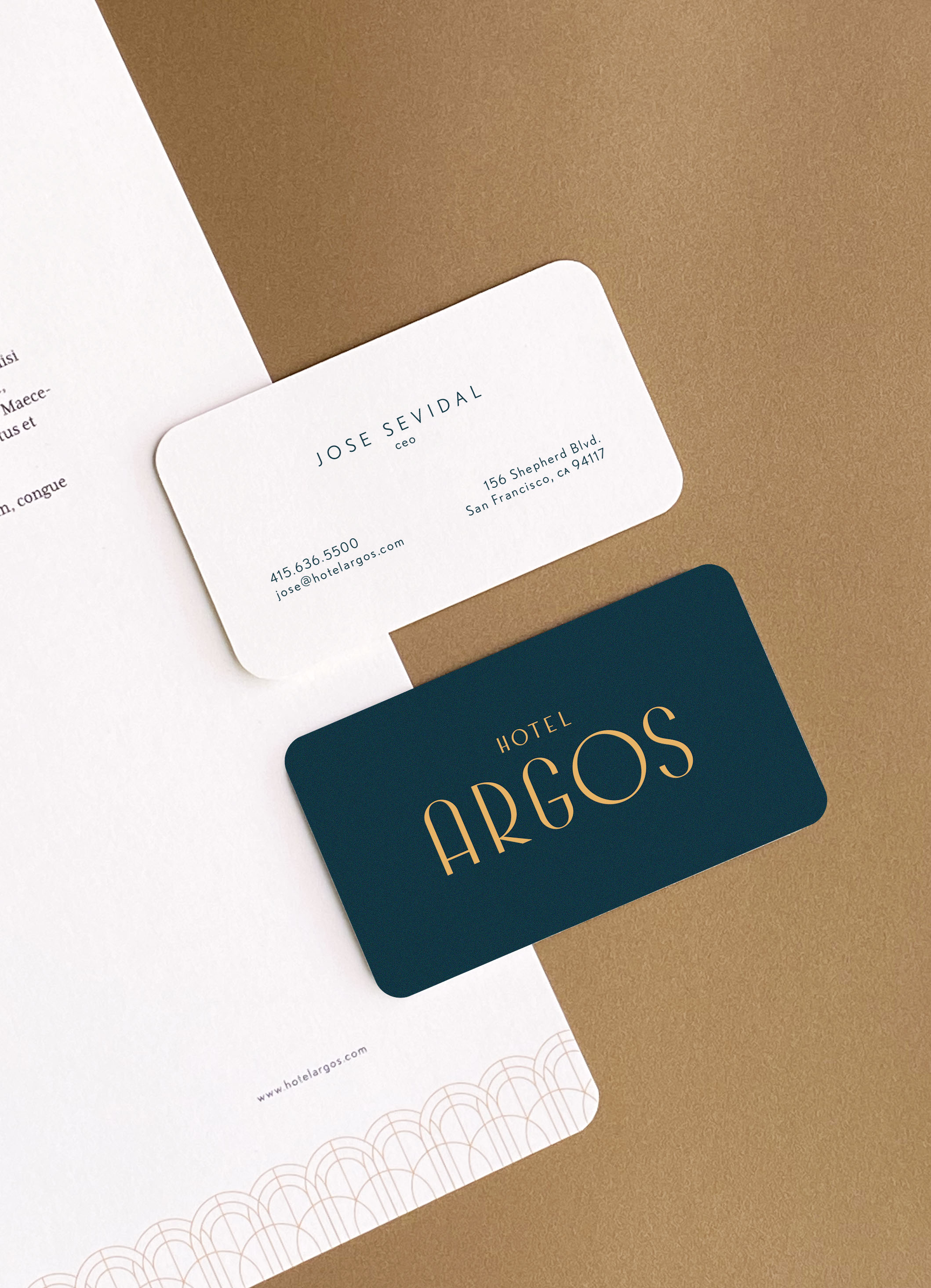 Two business cards and stationery for Hotel Argos.