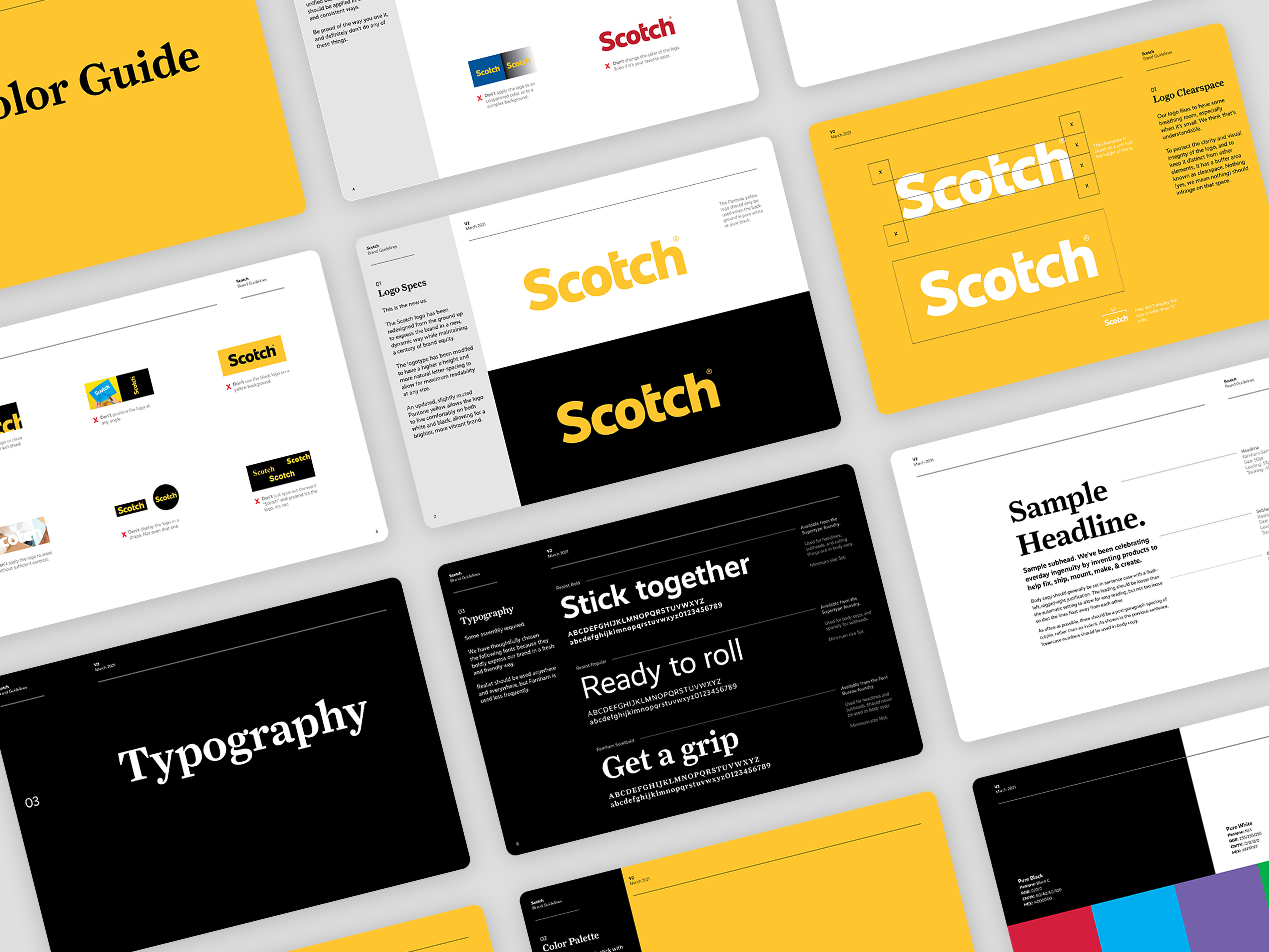 Numerous pages of the brand guidelines book for a Scotch brand refresh