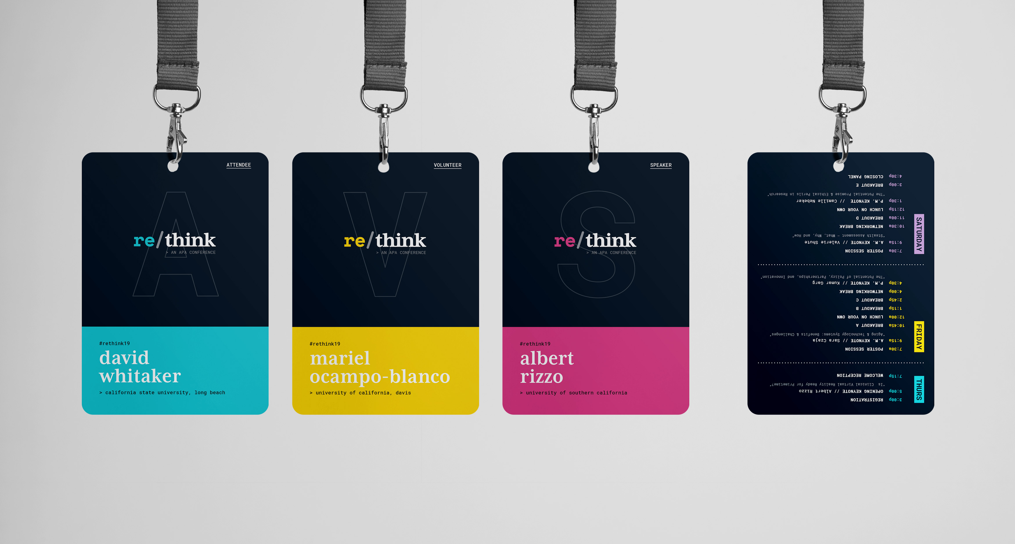 Conference name badges for 3 different types of attendees