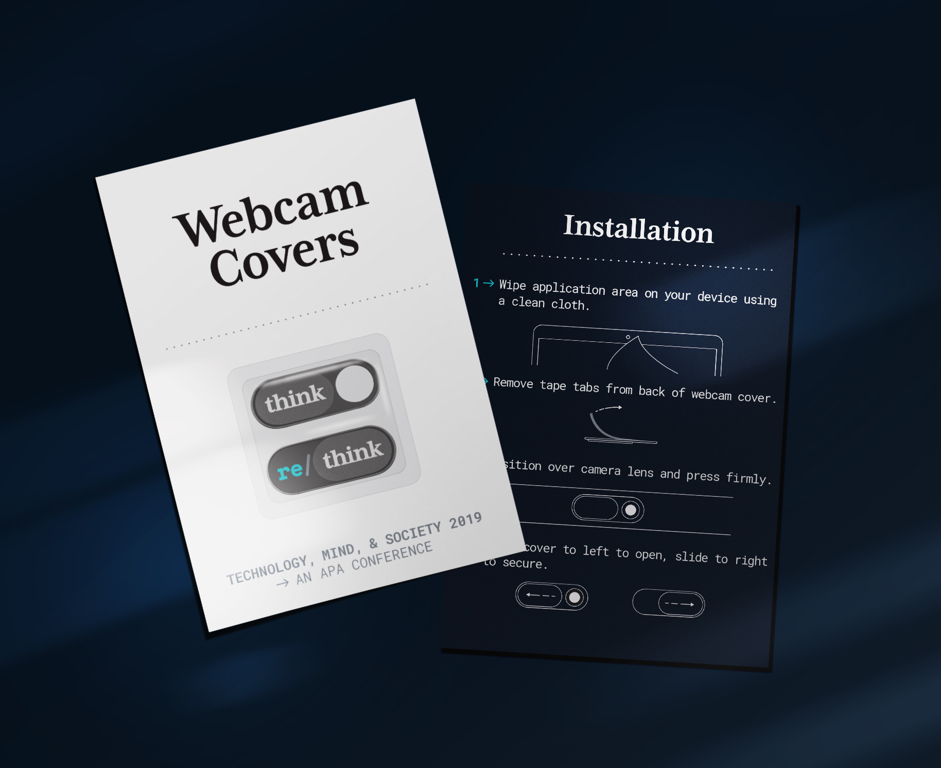 Custom webcam covers gifted to conference attendees