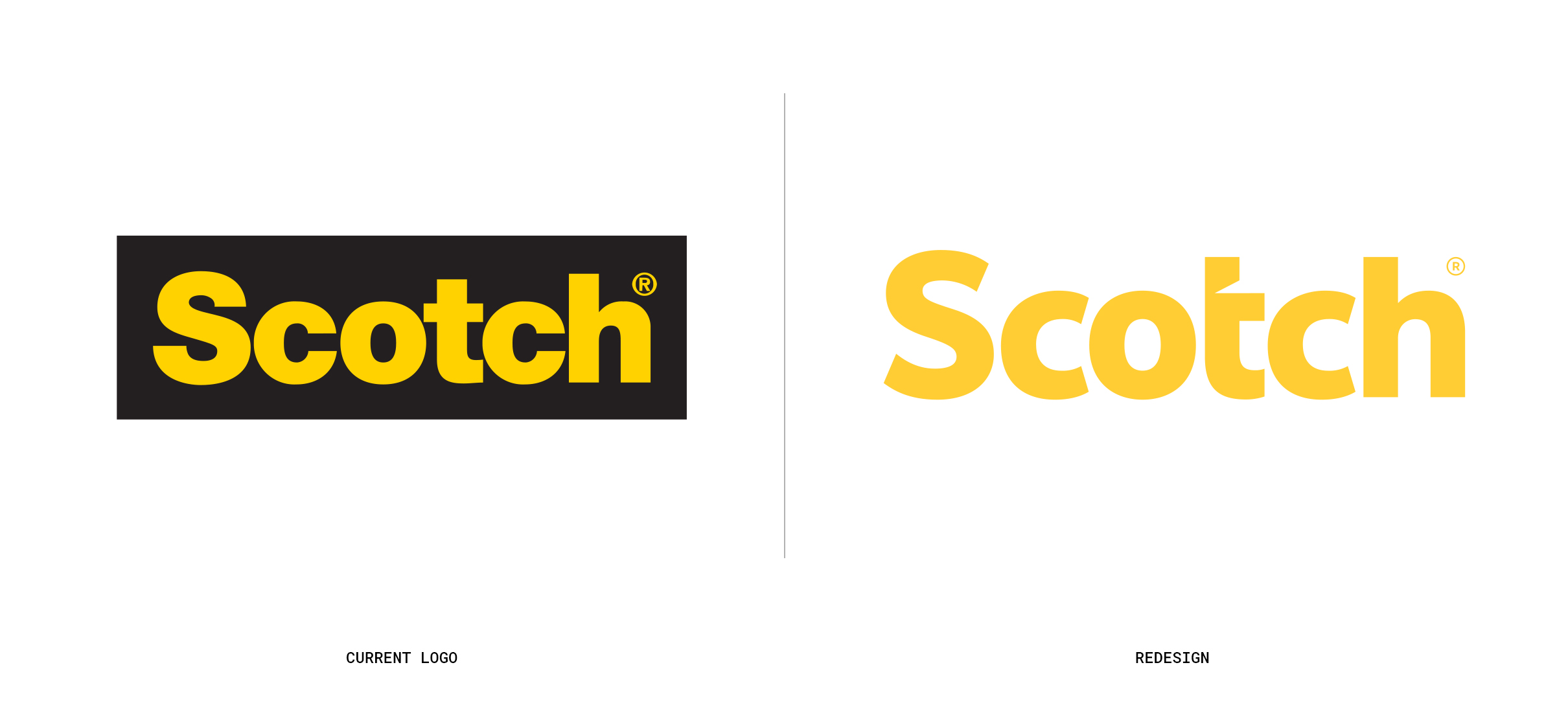 The old Scotch logo compared with the newly redesigned logo