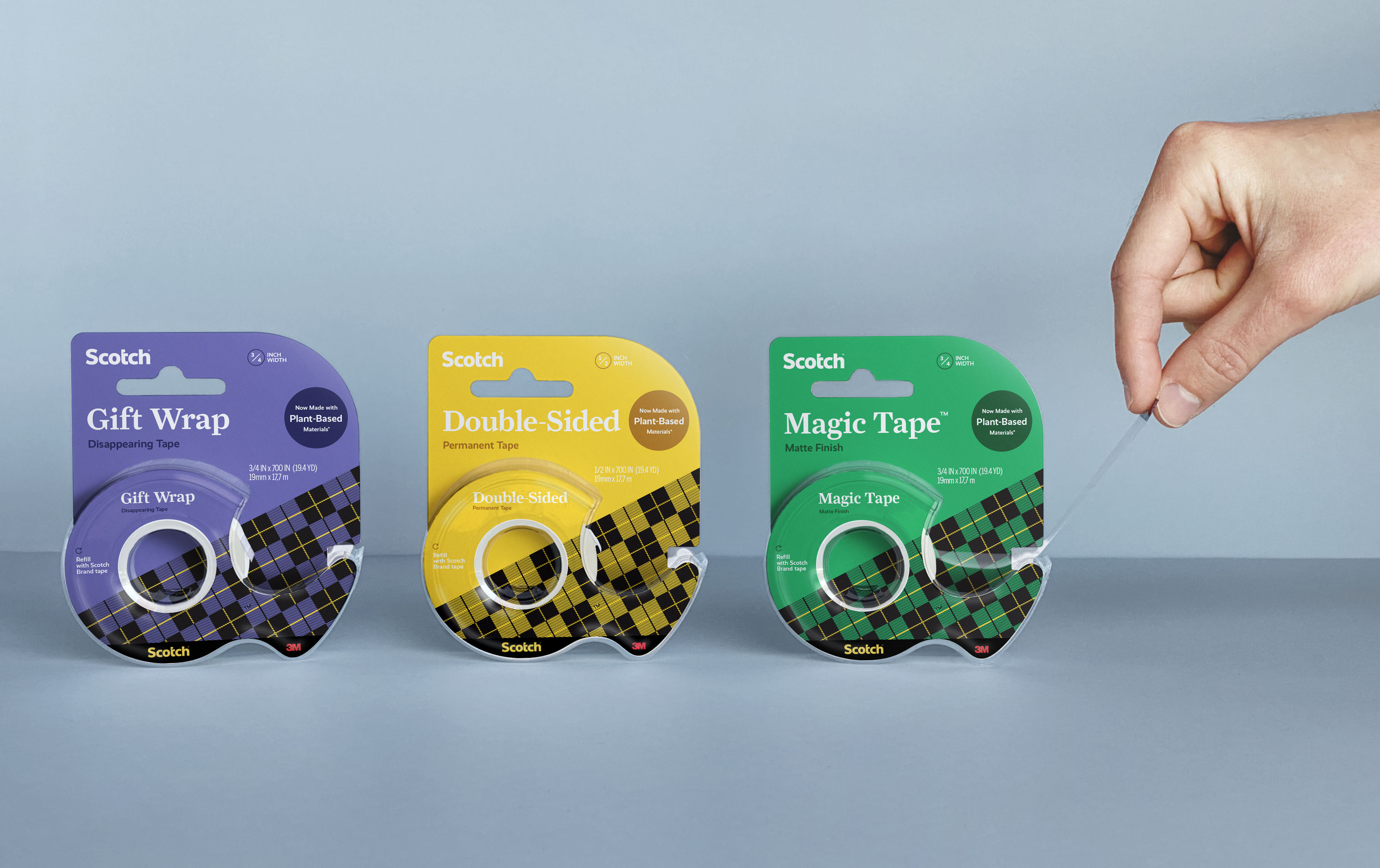 Redesigned tape packaging for a Scotch brand refresh