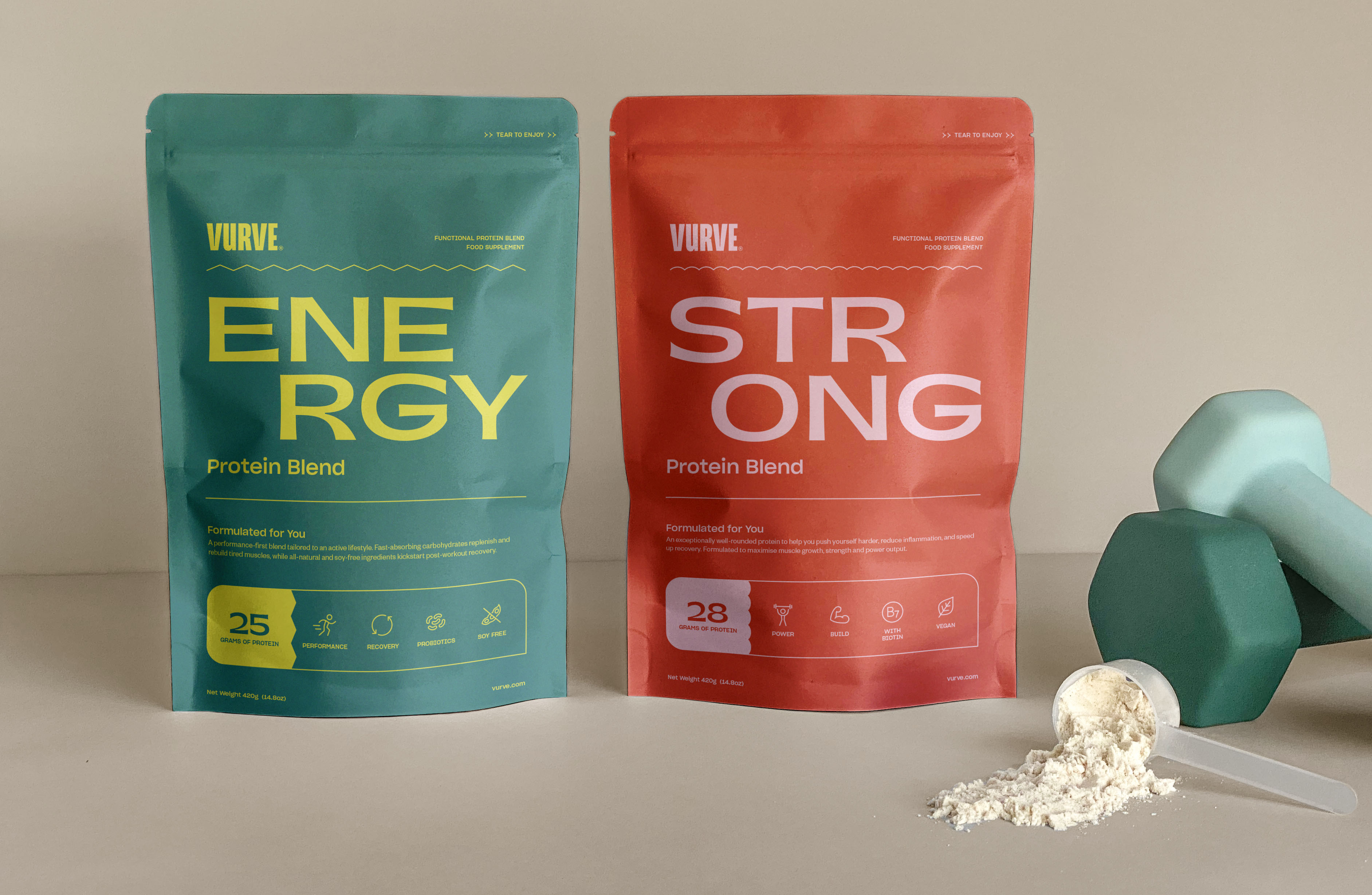 Two pouches of protein powder for women with a bold and colorful design