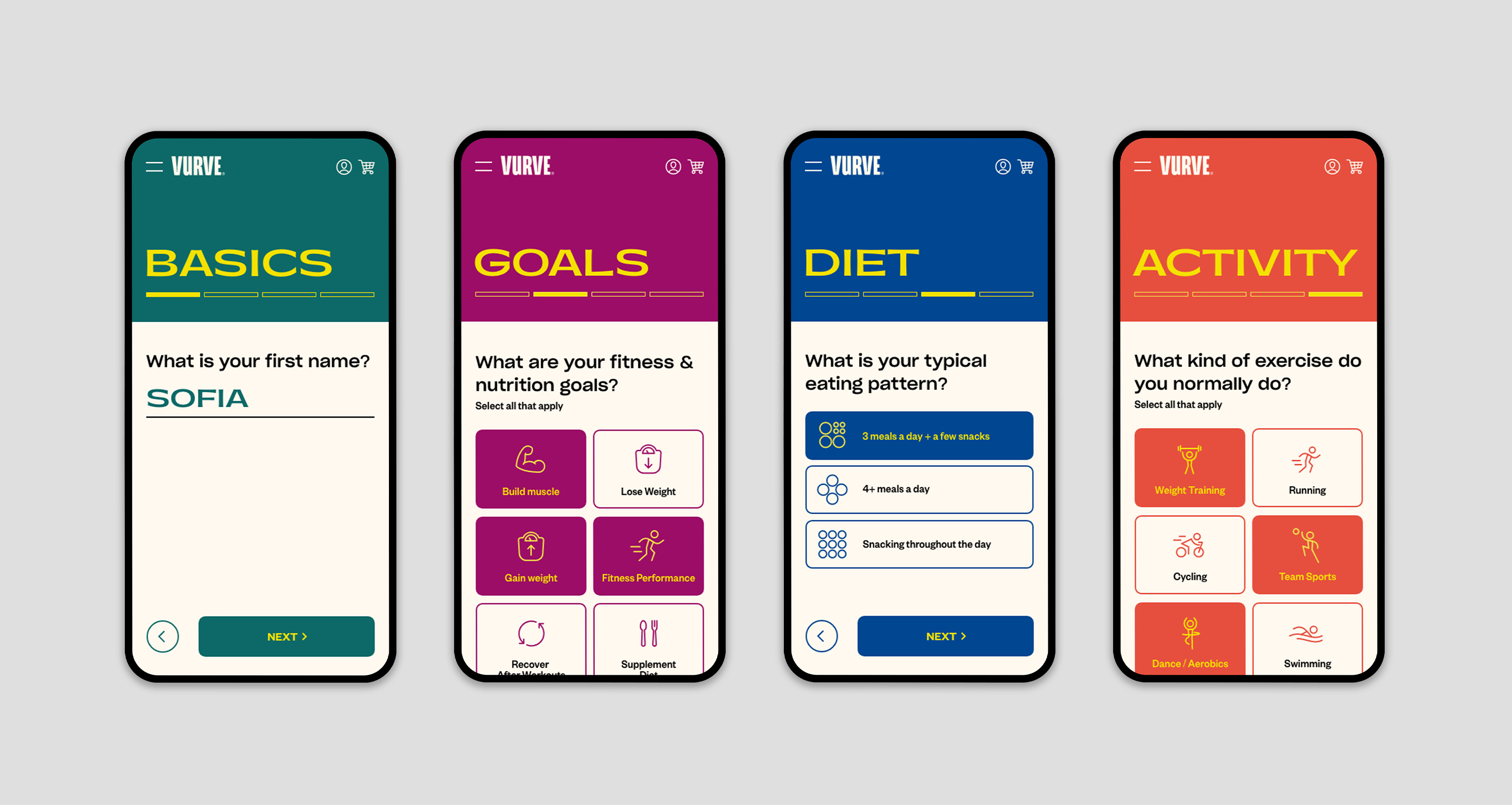 Several mobile screens of the online personalization quiz