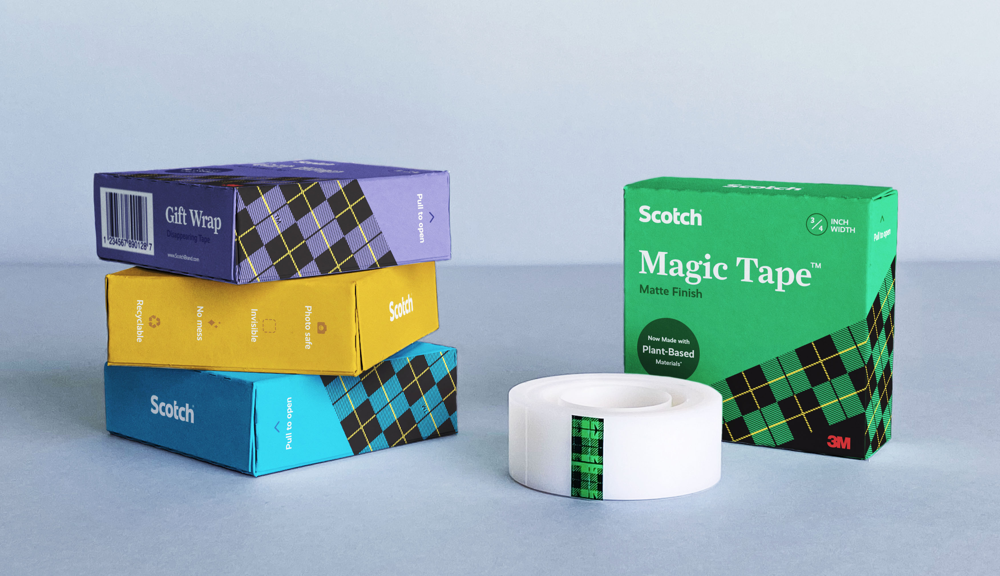 Redesigned tape refill boxes for a Scotch brand refresh