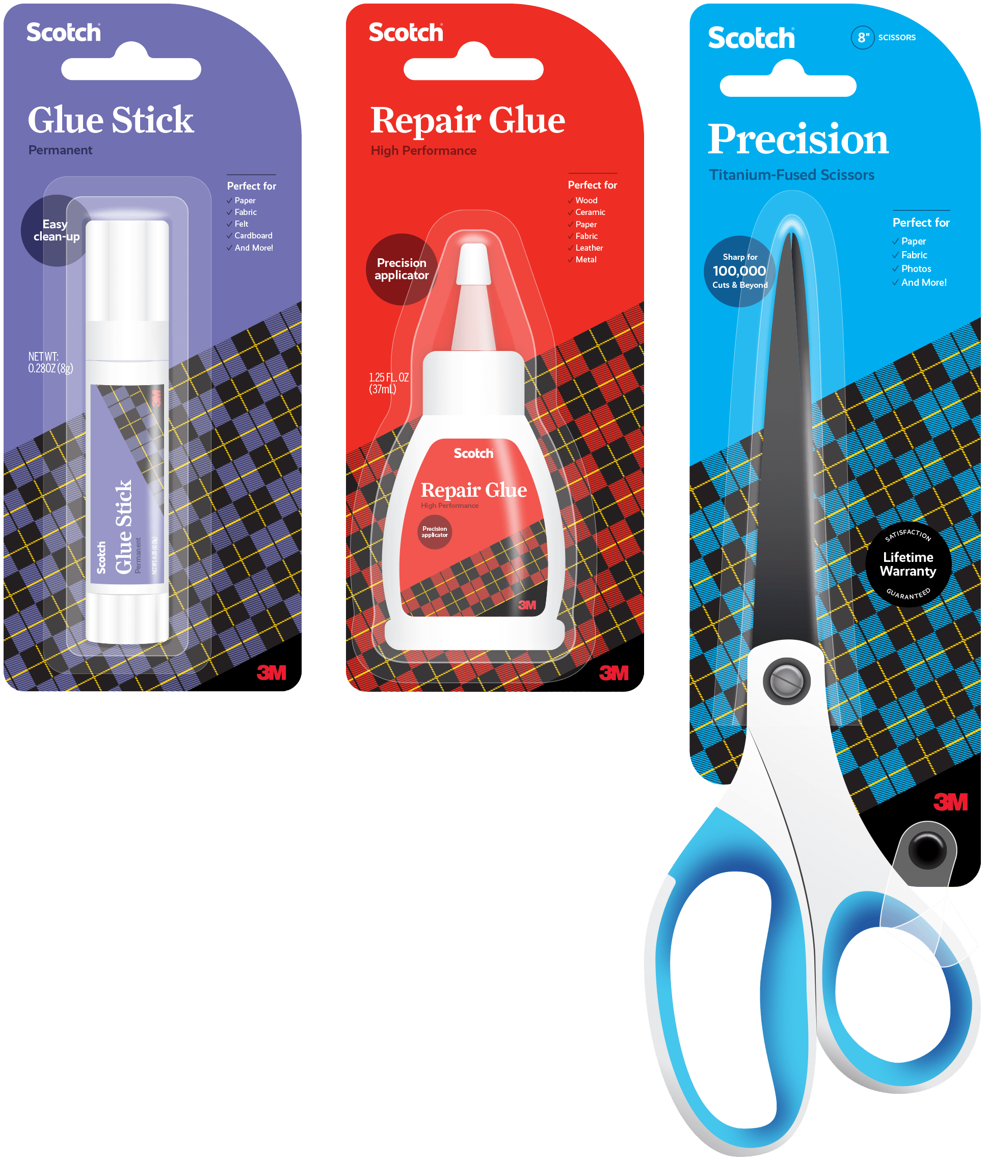 The cohesively redesigned glue and scissors packaging for Scotch