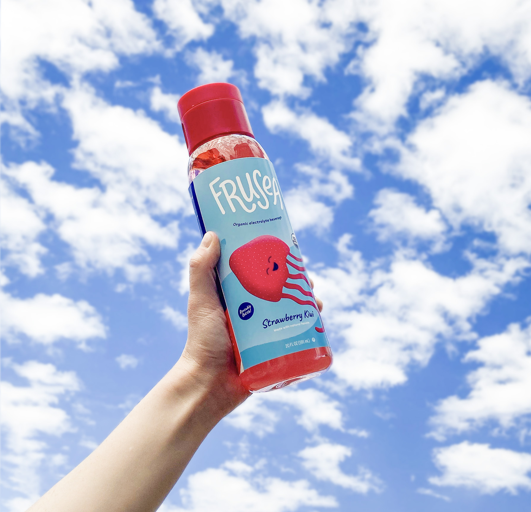 Electrolyte fruit drink for kids in a reusable bottle.