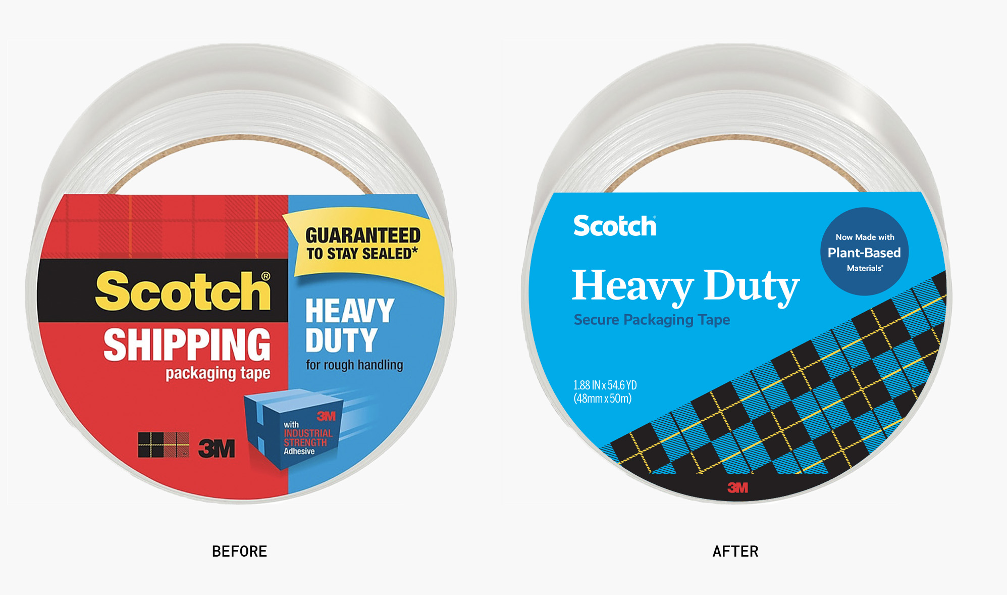 Before and after of Scotch's packing tape
