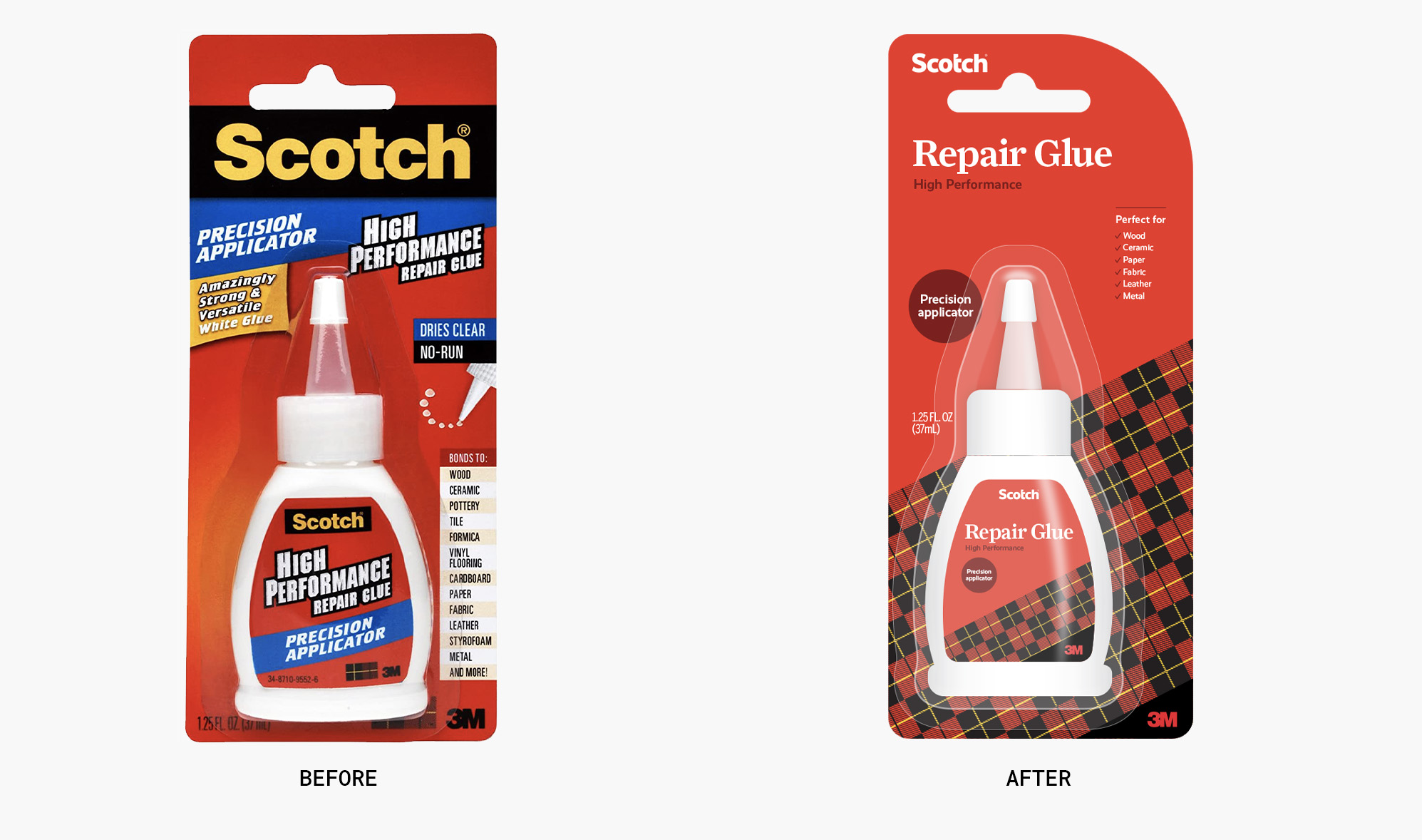 Before and after of Scotch's glue packaging