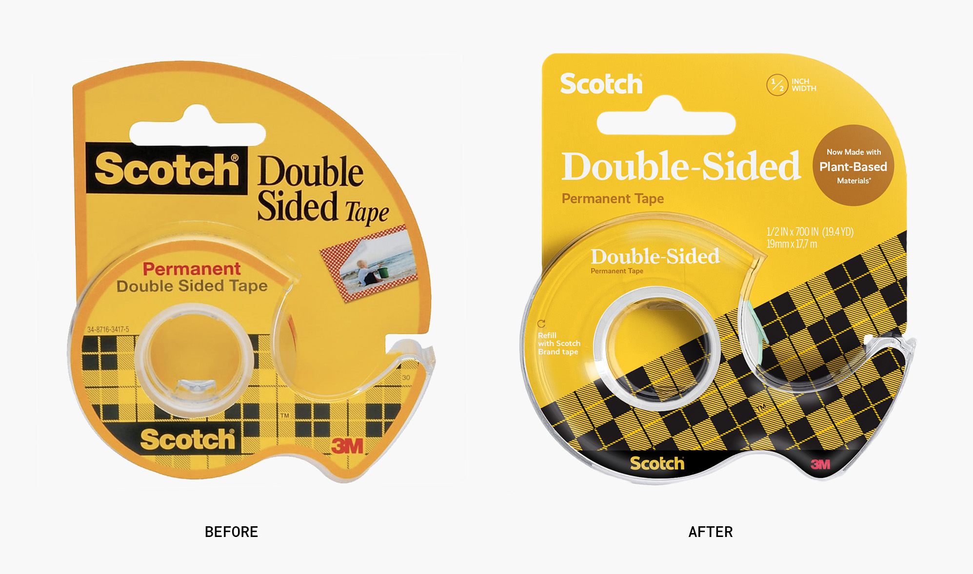 Before and after of Scotch's double-sided tape packaging