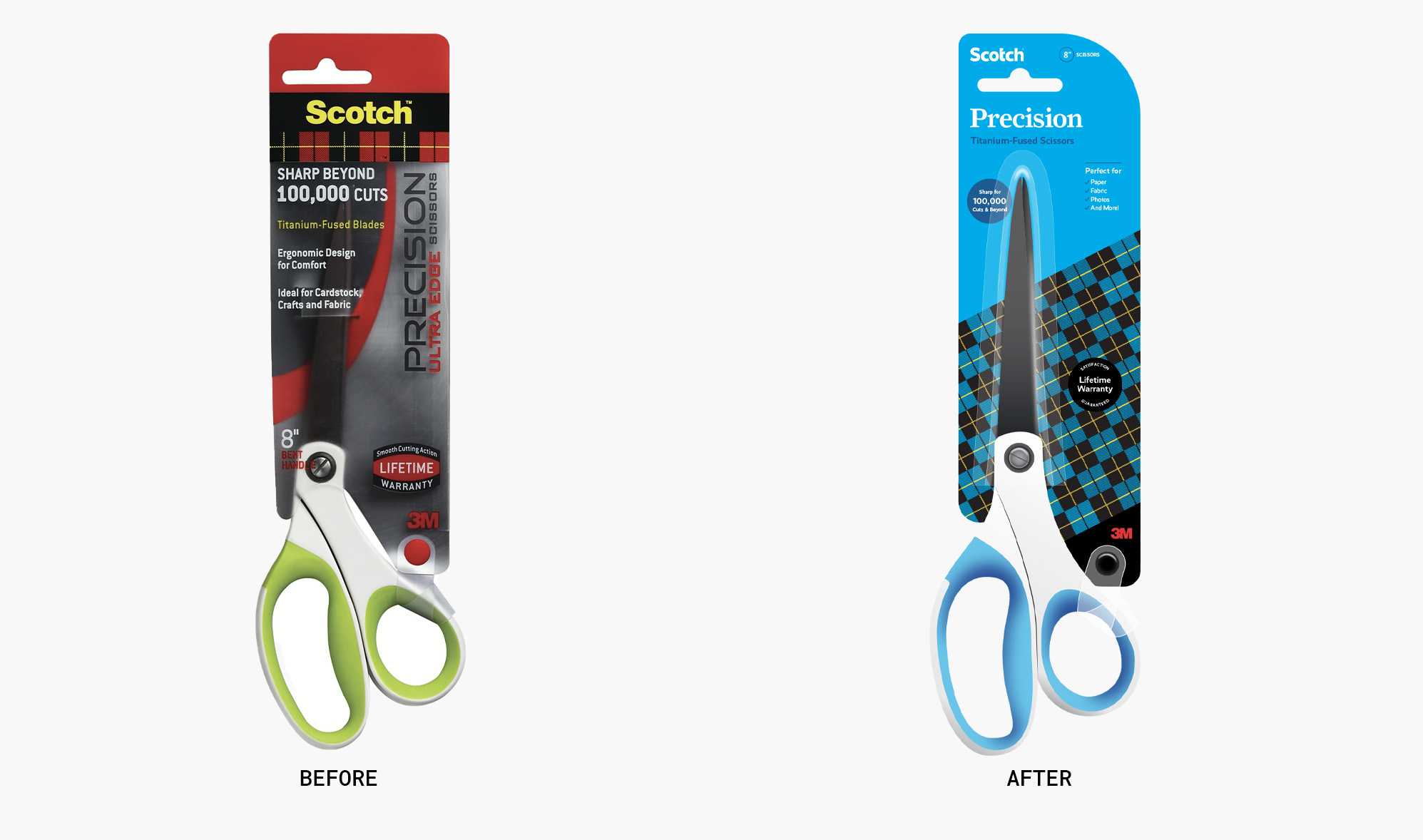 Before and after of Scotch's scissor packaging
