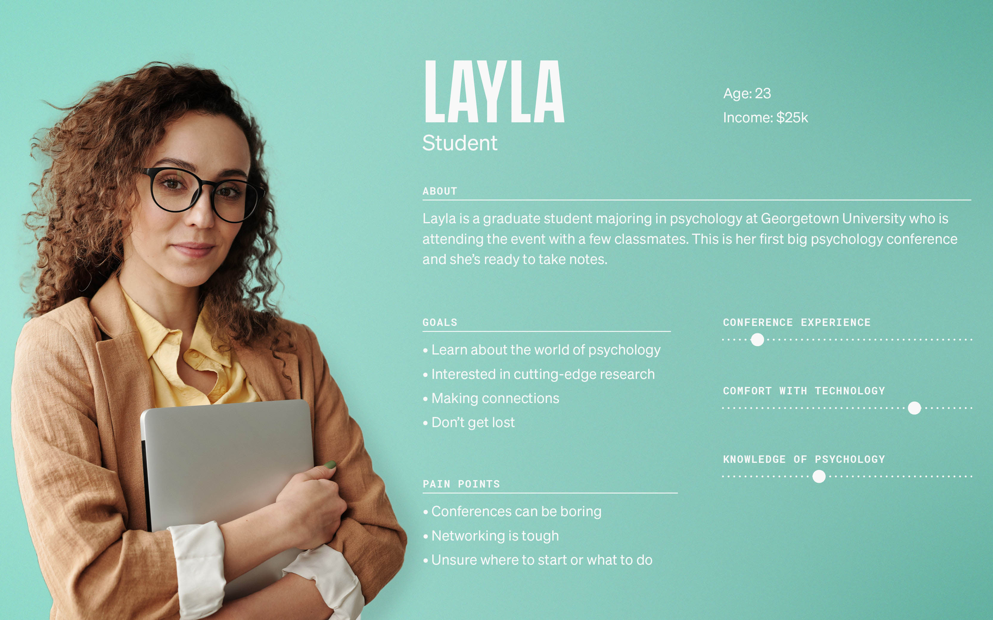 User persona for a student of psychology