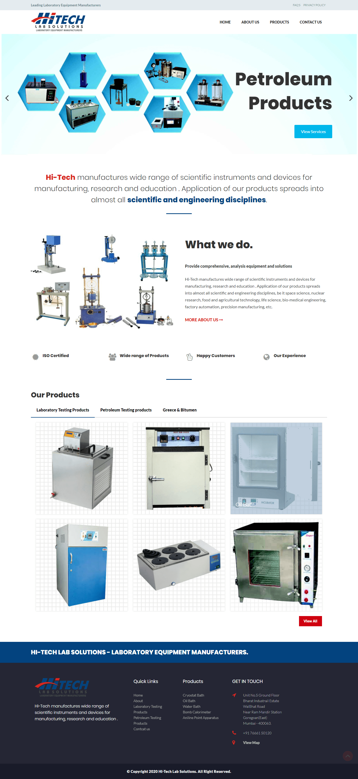 Website design for Hi-Tech Lab Solution