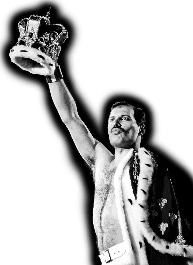 Freddie Mercury of Queen fame holding a crown up high