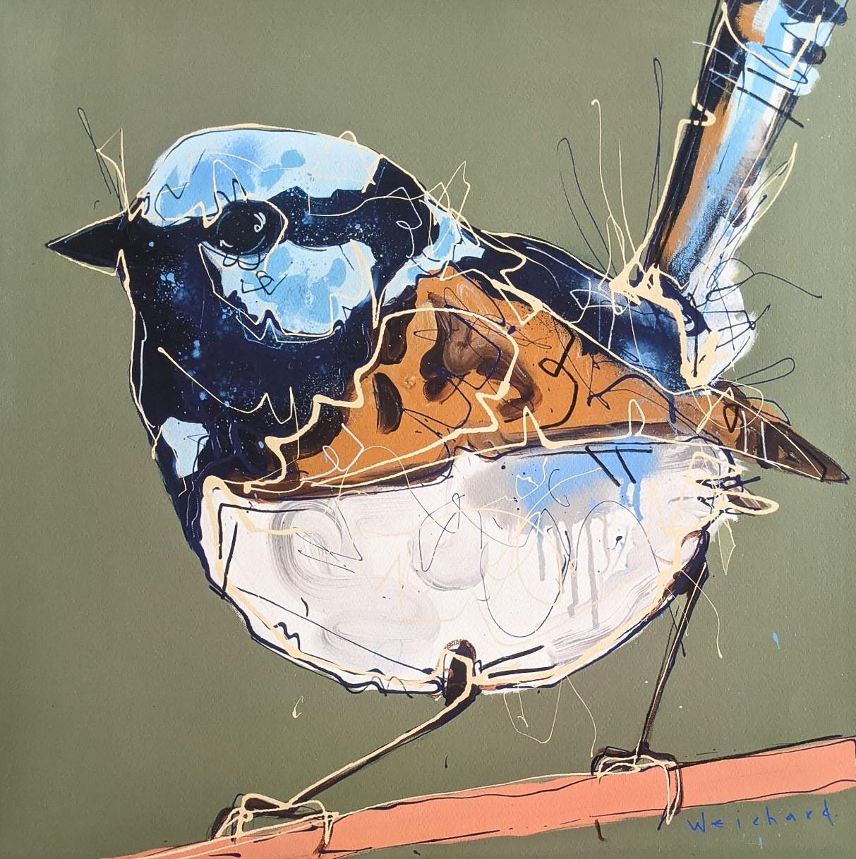 Blue Sage Hue - Limited Edition Wren Bird Print - Aidan Weichard - Native Bird Art