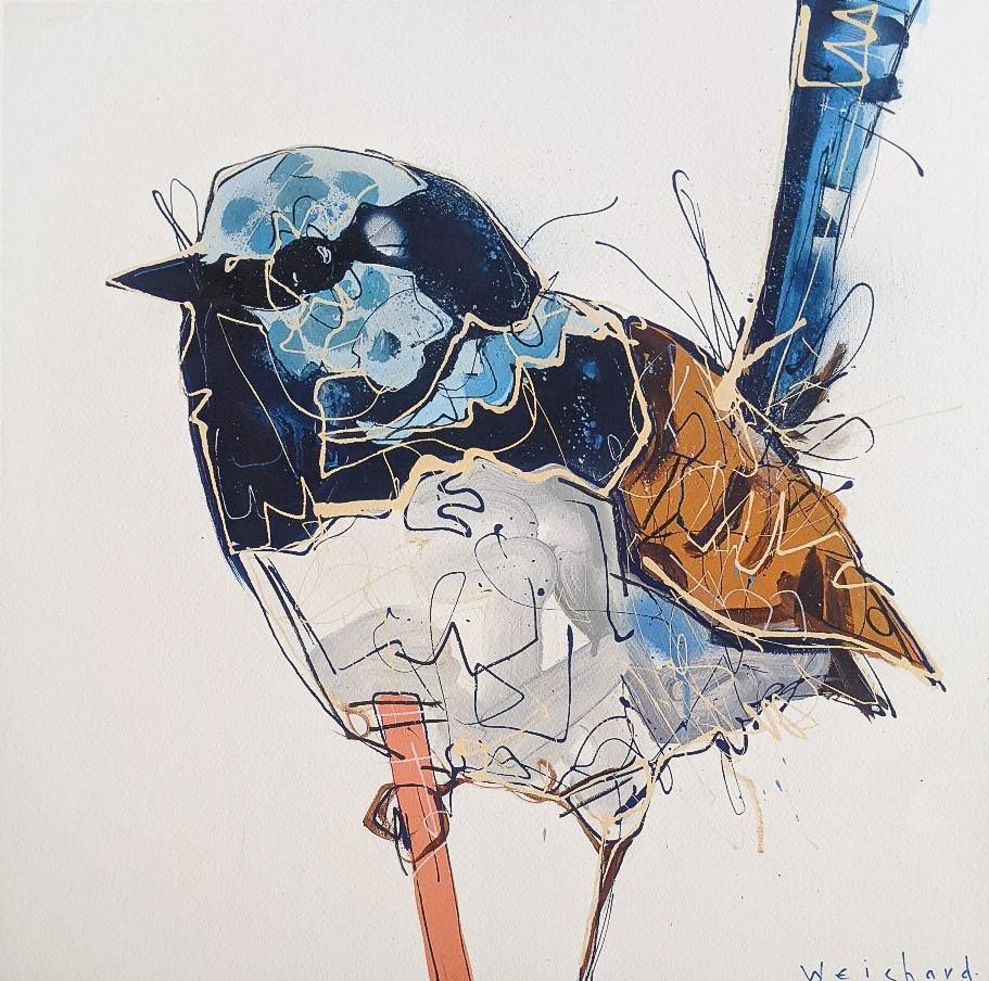 Sprightly Blue Perch - Limited Edition Wren Bird Print - Aidan Weichard - Contemporary Bird Art
