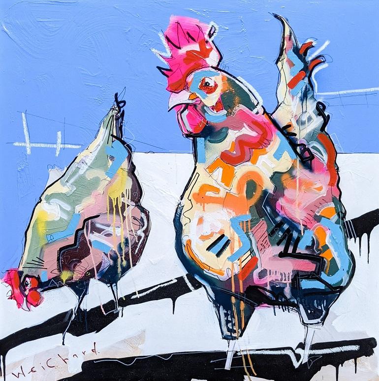 BACKYARD FORAGE - Aidan Weichard Art- Melbourne Artist- Original Mixed Canvas Painting - Chicken