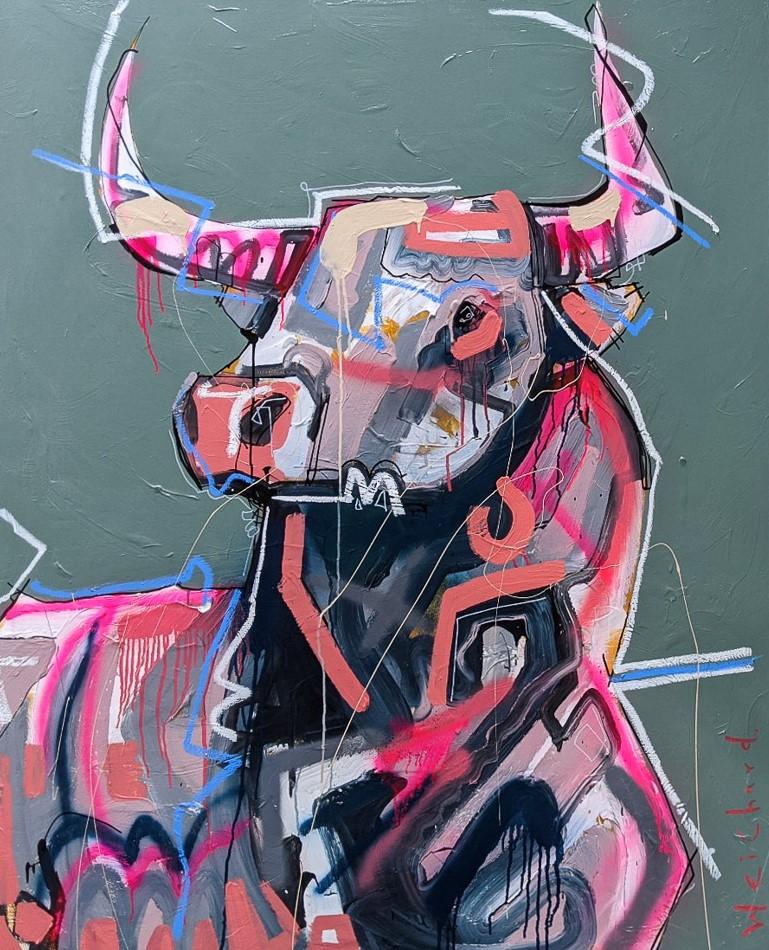 NOVEL GENERAL - Aidan Weichard Art- Original Mixed Canvas Painting - Australian Bull