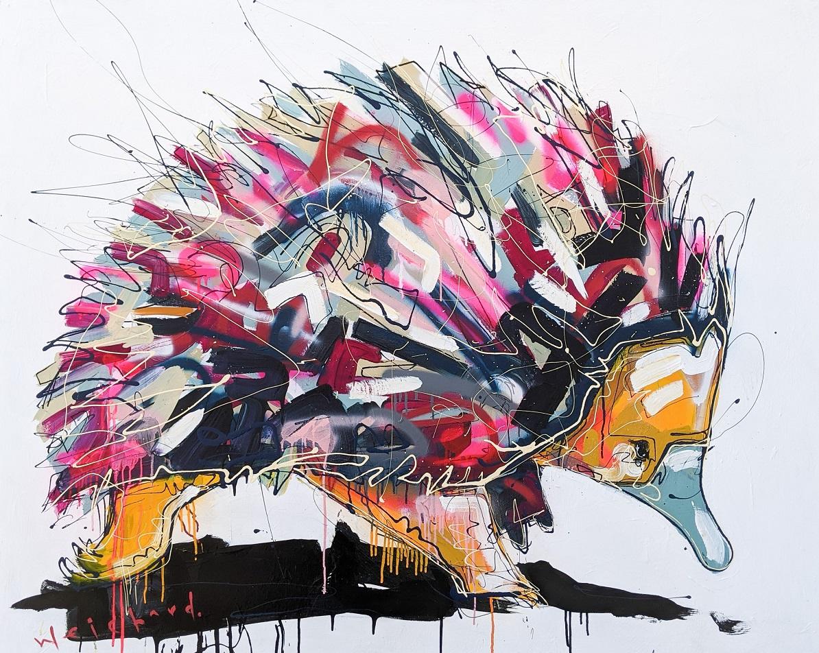 SPINY STROLL -Aidan Weichard Art-Original Mixed Canvas Painting - Australian Wildlife Echidna