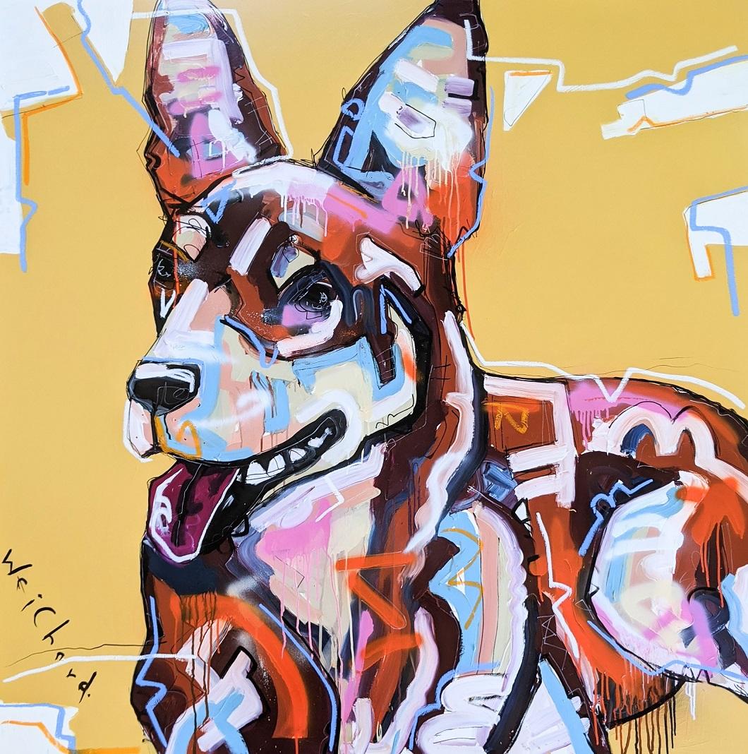 HIS OCHRE DAYS - Aidan Weichard Art- Original Painting - Australian Working Dog Keplie