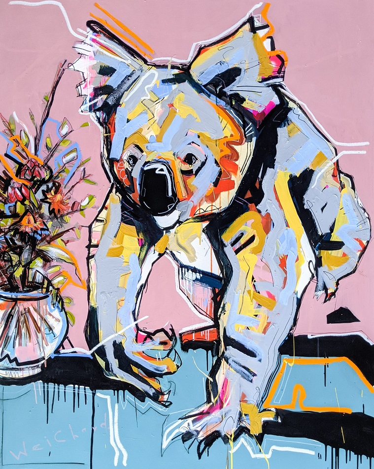 LIVING IN COLOUR - Aidan Weichard Art- Original Painting - Australian Wildlife Koala