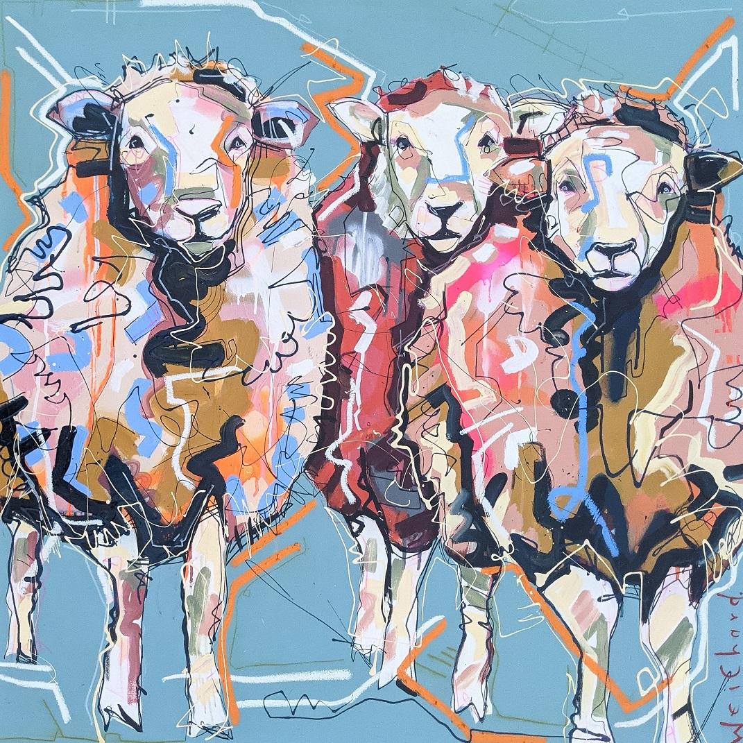 SHEEPISH STARE'S - Aidan Weichard Art- Canvas Painting - Australian farmlife sheep