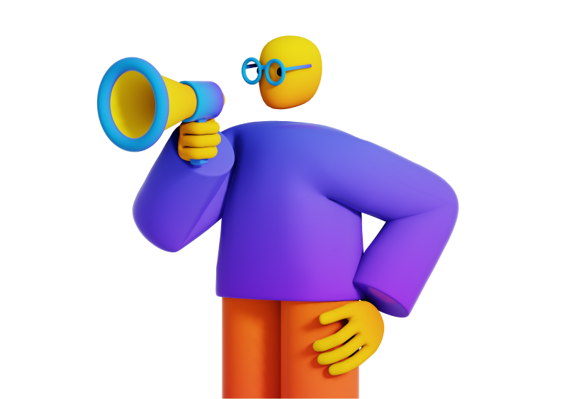 Coming Soon Illustration. 3D clay figure with megaphone.