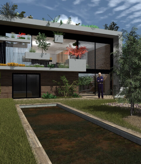 Photo 3d d'une maison avec jardin par Franck Duflo