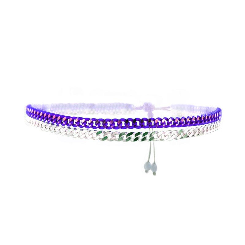 Bracelet Chains Argent Violet