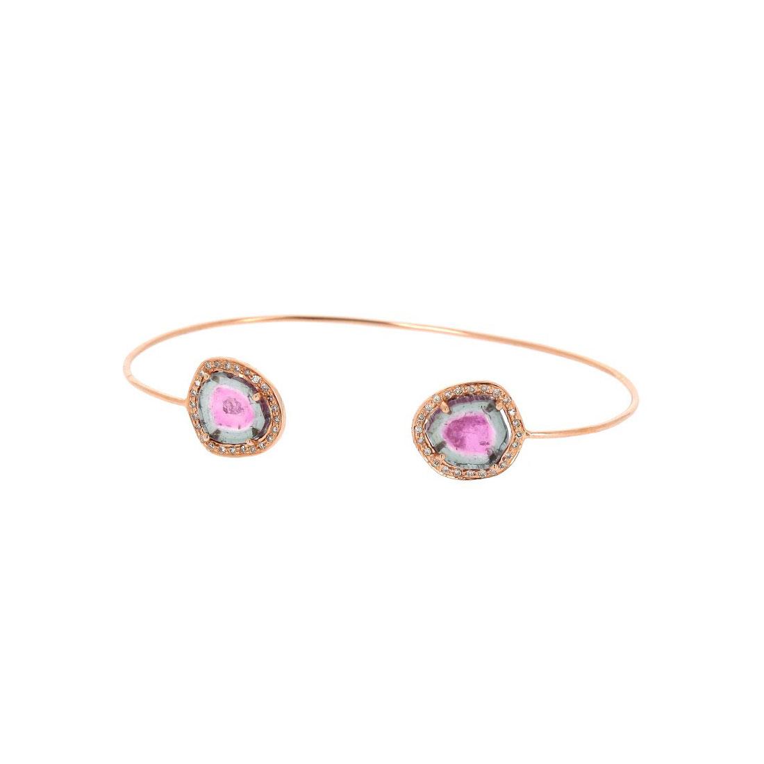 Bracelet Tourmalines Watermelon et Diamants