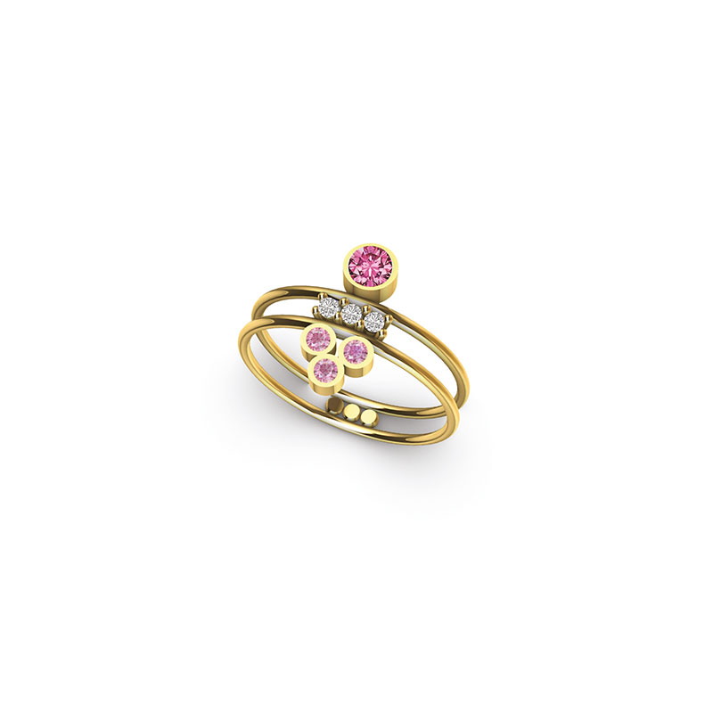 Bague Synchronicity double Saphirs roses