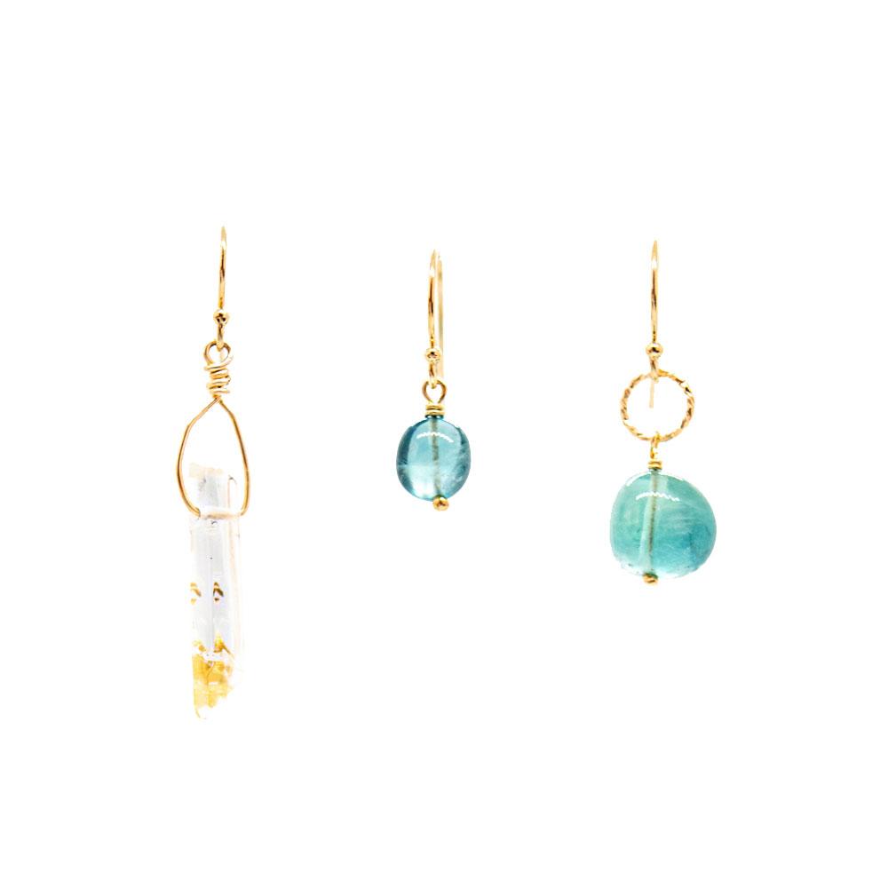Boucles Trio Cristal de roche & Fluorite