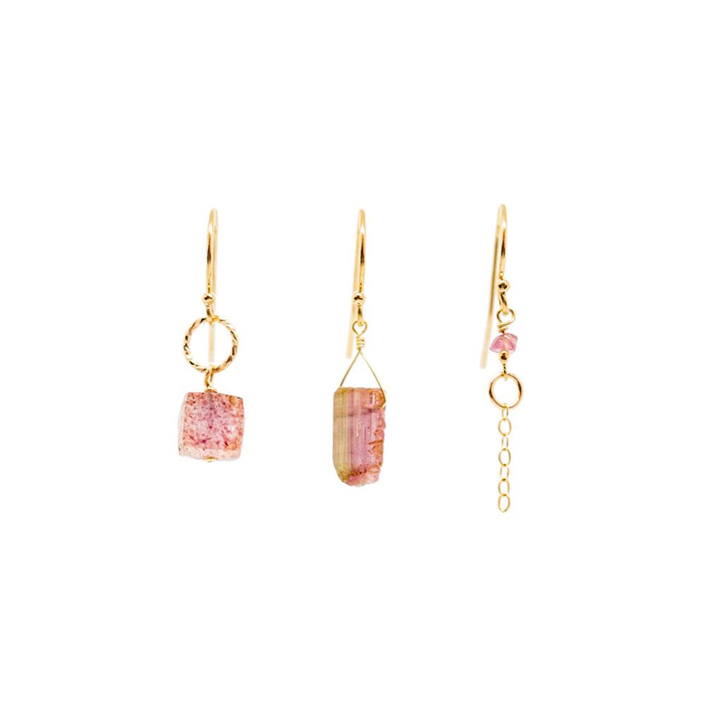 Boucles Trio Quartz & Tourmaline rose