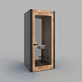 BUSYPOD Phone Booth,  Dark Grey sides, Oak frame