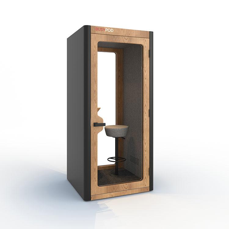 BUSYPOD Phone Booth, Dark Grey sides, Oak frame