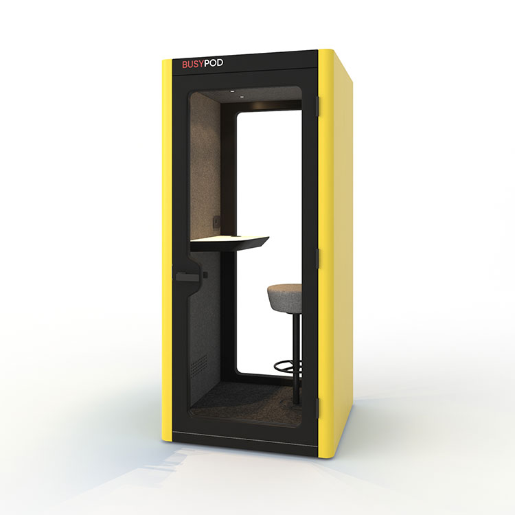 BUSYPOD Phone Booth, Yellow  sides, Black Lacquer frame