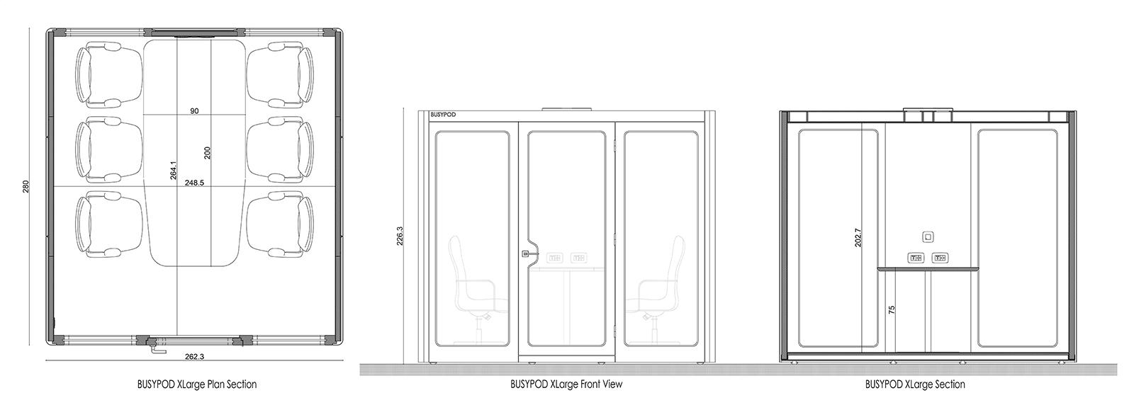 BUSYPOD XLarge dimension diagram