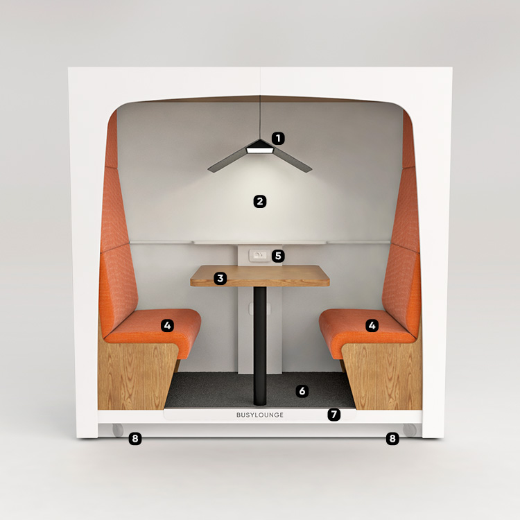 2 person BUSYLOUNGE, White sides, White Lacquer frame, Orange seats